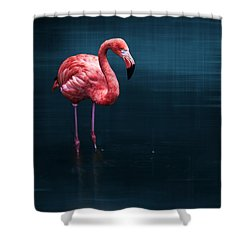 Flamingo - Blue Shower Curtain by Hannes Cmarits