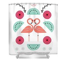 Flamingo Flutter Shower Curtain by Susan Claire