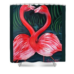 Flamingo Love Card Shower Curtain