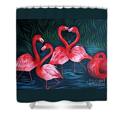 Flamingo Love. Inspirations Collection. Special Greeting Card Shower Curtain