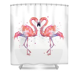 Flamingo Love Watercolor Shower Curtain
