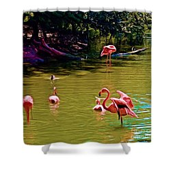 Flamingo Party Shower Curtain by Luther Fine Art