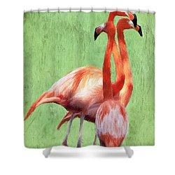 Flamingo Twist Shower Curtain by Jeffrey Kolker