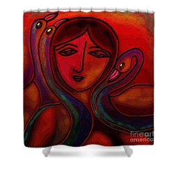 Shower Curtain featuring the digital art Flamingoes- Mural Style by Latha Gokuldas Panicker