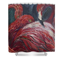 Shower Curtain featuring the painting Flamingos by Avonelle Kelsey