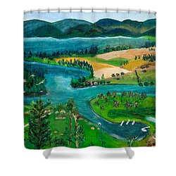 View Of Flathead River And Lake Shower Curtain
