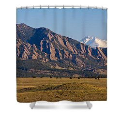 Flatirons And Snow Covered Longs Peak Panorama Shower Curtain