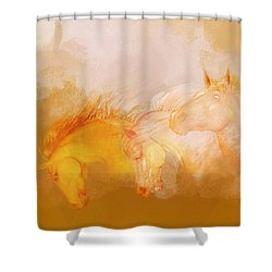 Shower Curtain featuring the painting Flaxen Manes by Valerie Anne Kelly