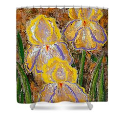 Fleur D' Iris Shower Curtain by Margaret Bobb