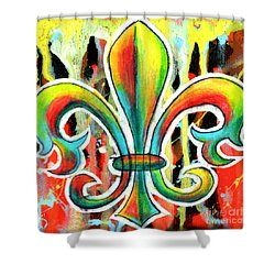 Fleur De Lis In Flames Shower Curtain by Genevieve Esson