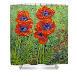 Fleurs Des Poppies Shower Curtain by Margaret Bobb