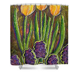 Fleurs D' Tulips And Hyacinths Shower Curtain by Margaret Bobb