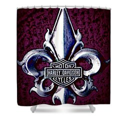 Fleurs De Lys With Harley Davidson Logo Shower Curtain