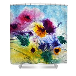Shower Curtain featuring the painting Fleurs by Joan Hartenstein