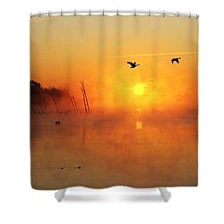 Flight At Sunrise Shower Curtain