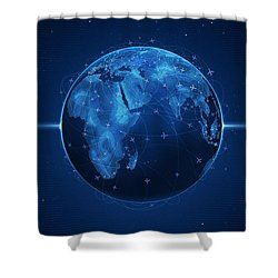 Flights And Earth Shower Curtain by Gianfranco Weiss