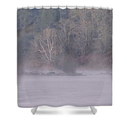 Shower Curtain featuring the pyrography Flint River 10 by Kim Pate