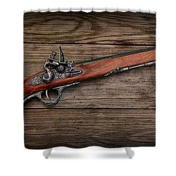 Flintlock Blunderbuss Pistol Shower Curtain by Paul Ward