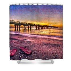 Flip-flops Shower Curtain by Debra and Dave Vanderlaan
