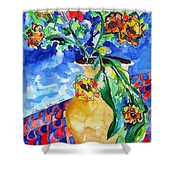 Flip Of Flowers Shower Curtain by Esther Newman-Cohen