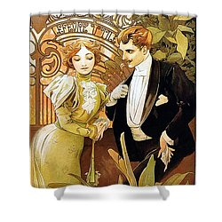Flirt Shower Curtain by Alphonse Mucha