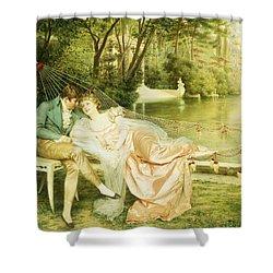 Flirtation  Shower Curtain by Joseph Frederick Charles Soulacroix