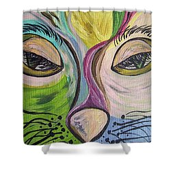 Shower Curtain featuring the painting Flirty Feline ... Cat Eyes by Eloise Schneider