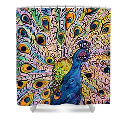 Shower Curtain featuring the painting Flirty Peacock by Eloise Schneider