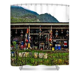 Float House Shower Curtain by Robert Bales