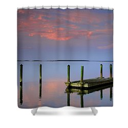 Floating Docks Shower Curtain by Phill Doherty