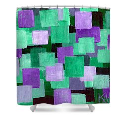 Floating Green And Purple Squares Shower Curtain by Art by Kar