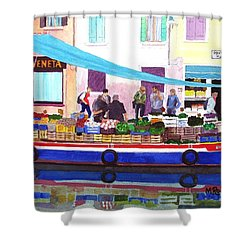 Floating Grocery Store Shower Curtain by Mike Robles