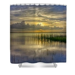 Floating Over The Lake Shower Curtain by Debra and Dave Vanderlaan