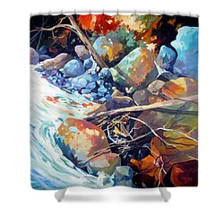 Shower Curtain featuring the painting Flood Plain by Rae Andrews