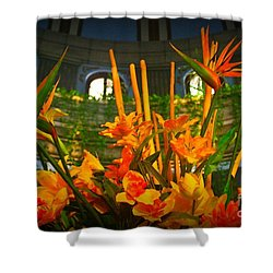 Floral Arragement In Lobby Of The Riu Cancun Hotel Shower Curtain by John Malone