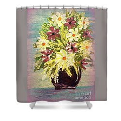 Shower Curtain featuring the painting Floral Delight Acrylic Painting by Bobbee Rickard