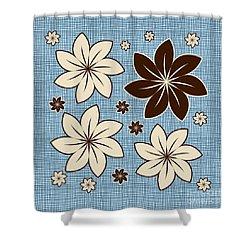 Floral Design On Blue Shower Curtain by Gaspar Avila