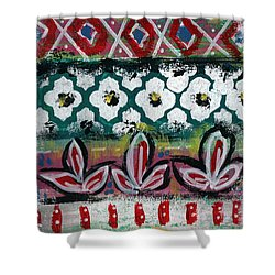 Floral Fiesta- Colorful Pattern Painting Shower Curtain by Linda Woods