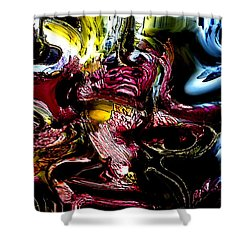 Shower Curtain featuring the digital art Flores' Darker More Uncomfortable Twin by Richard Thomas