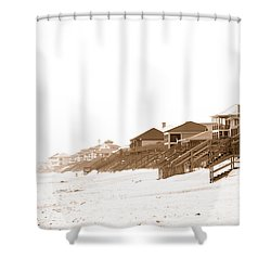 Florida Beach Sepia Print Shower Curtain by Charles Beeler