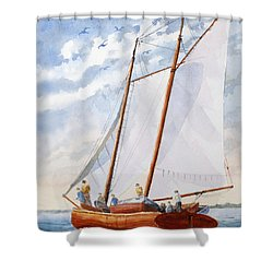 Florida Catboat At Sea Shower Curtain