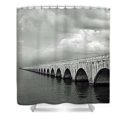 Florida Keys Seven Mile Bridge Black And White Shower Curtain