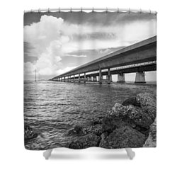 Florida Keys Seven Mile Bridge South Bw Vertical Shower Curtain