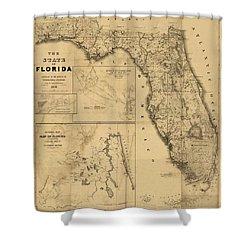 Florida Map Art - Vintage Antique Map Of Florida Shower Curtain