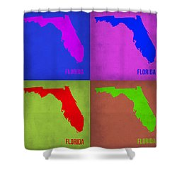 Florida Pop Art Map 1 Shower Curtain by Naxart Studio
