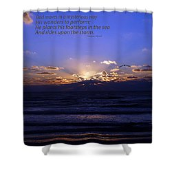Florida Sunset Beyond The Ocean  - Quote Shower Curtain