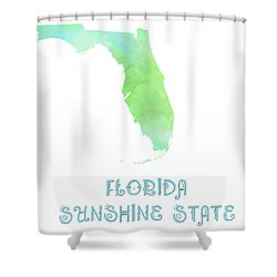 Florida - Sunshine State - Map - State Phrase - Geology Shower Curtain by Andee Design