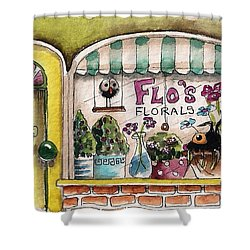Flo's Flowers Shower Curtain by Lucia Stewart
