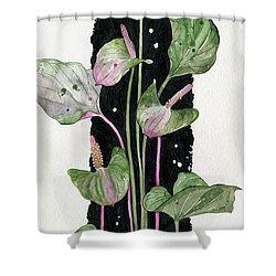 Shower Curtain featuring the painting Flower Anthurium 02 Elena Yakubovich by Elena Yakubovich