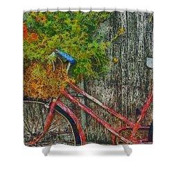 Flower Basket On A Bike Shower Curtain by Mark Kiver